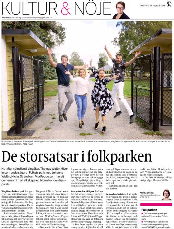 De storsatsar i folkparken – Katrineholms-Kuriren – 2018-08-29