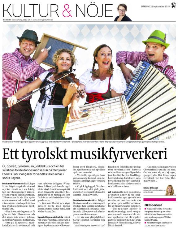 Ett tyrolskt musikfyrverkeri – Katrineholms-Kuriren – 2018-09-22