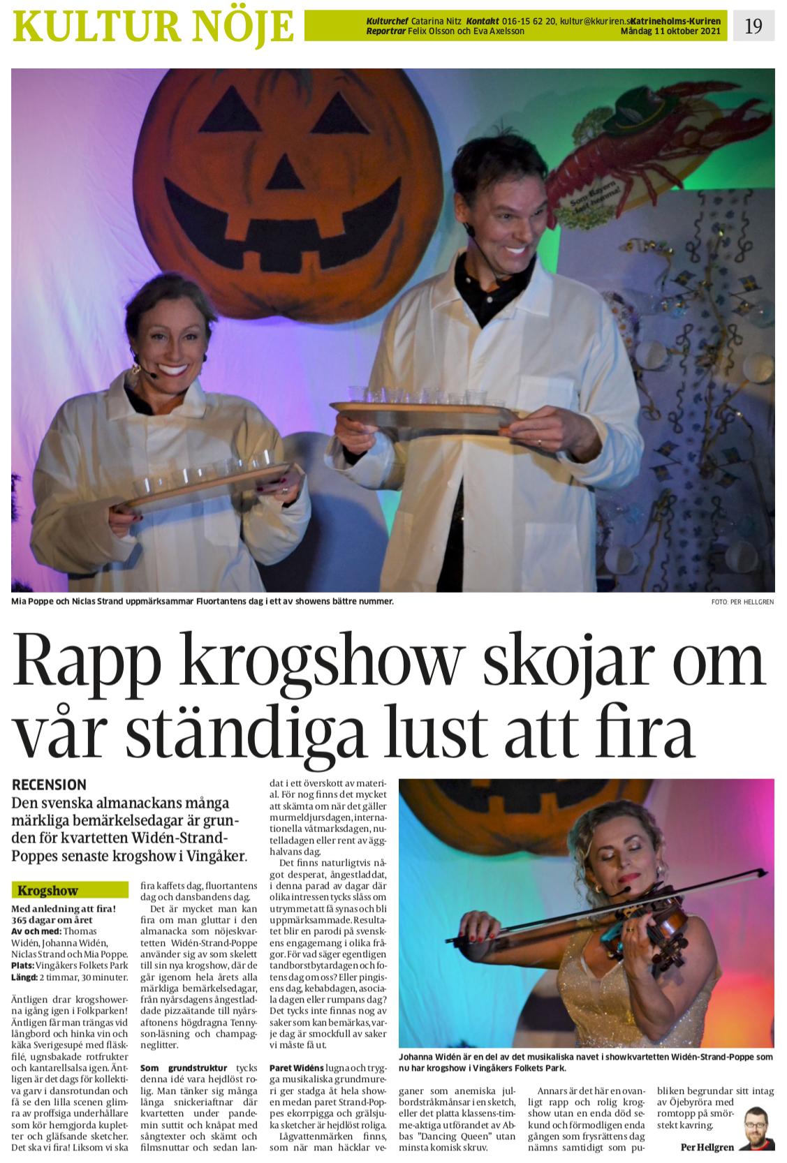 Recension Med anledning att fira! – Katrineholms-Kuriren